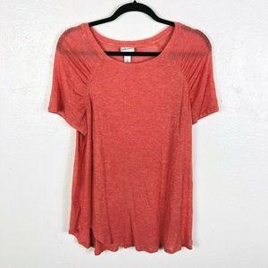 Ava & Viv Plus Size 0X Tee Top Pink Short Sleeve